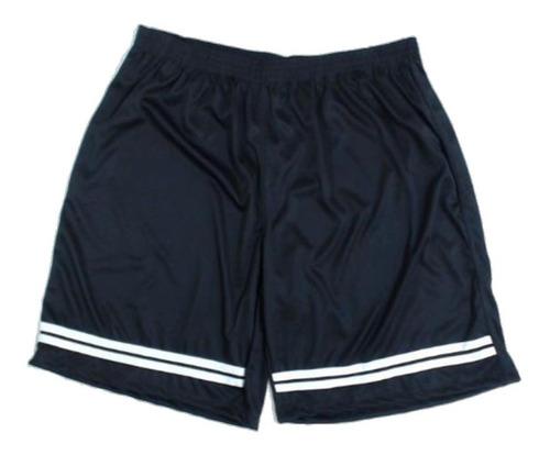 Shorts Masculino Listas Plus Size 50 Ao 60 Academia Futebol Lazer 100% Poliéster Cordão Interno Tamanho Grande