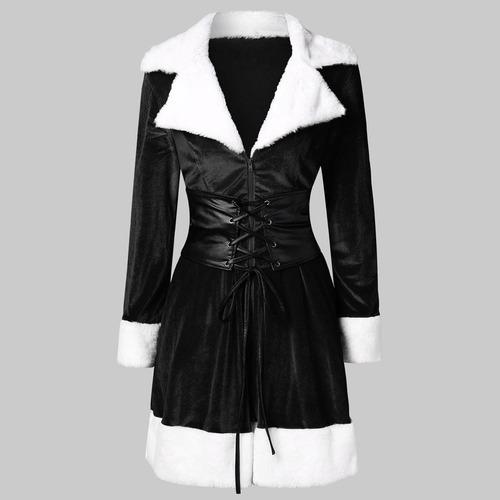 Vestido De Natal Feminino Manga Comprida Zíper Lace Up Mini0