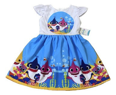 Vestido Aniversario Baby Shark-luxo