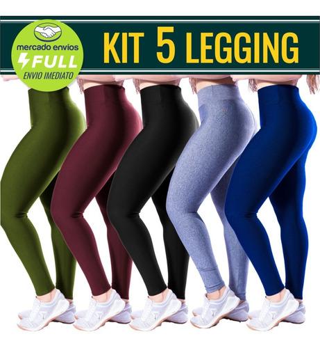 Kit 5 Calça Ginástica Legging Suplex  Fitness Atacado