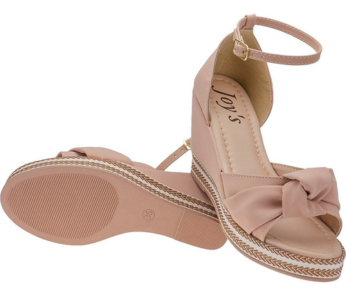 Sapato Salto Feminino Anabela Confot Moda Casual Joys Tira