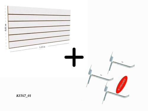 Painel Canaletado Expositor 0,61 X 1,22 Branco + 40 Ganchos