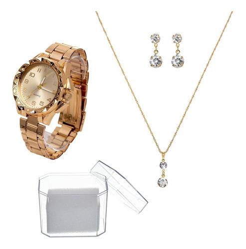 Relógio Feminino Dourado + Kit Brinde Colar Brinco Lindo Top