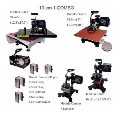 Prensa Térmica Manual Stc Smart 10 Em 1 - 32cmx45cm 110v