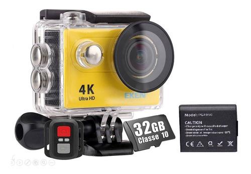 Câmera Eken H9r 4k Filmadora Original Wifi Controle Bateria 32gb Esporte Full Hd Prova D´água Capacete Moto Action