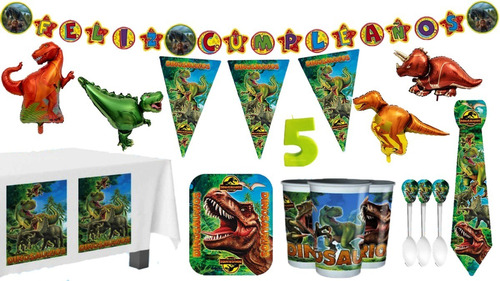 Kit Decoración Fiesta Dinosaurios Jurassic World Con Globos