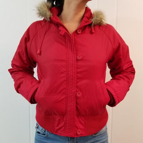 Casaco Jaqueta Inverno Feminino Vermelho Capuz C/ Pelo