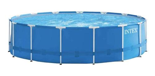 Piscina Estrutural Redonda Intex 28241 Com Capacidade De 16805 Litros De 4.57m De Diâmetro  Azul