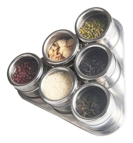 Porta Temperos E Condimentos Magnético Inox 6 Potes Com Imã