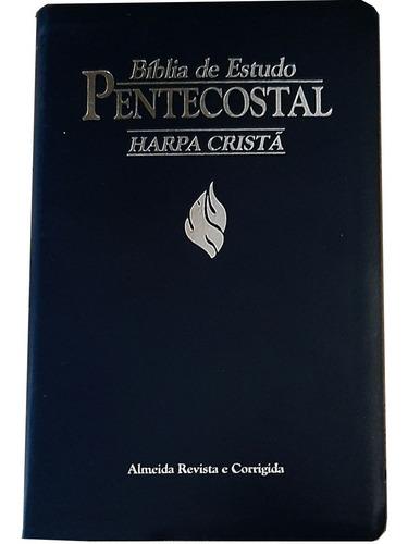 Bíblia De Estudo Pentecostal Média Com Harpa Cristã Preta