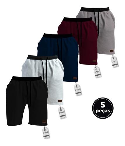 Kit 5 Bermudas Shorts Moletom Masculina Academia By Zaroc