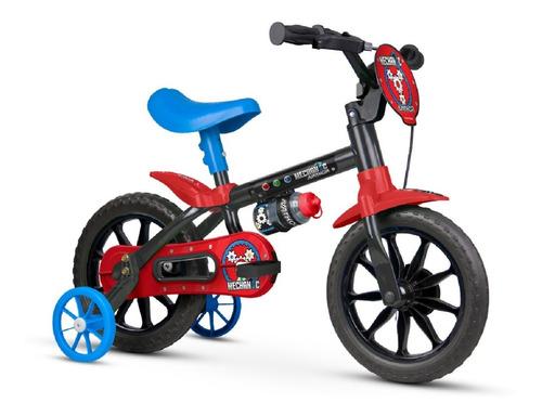 Bicicleta  Infantil Nathor Mechanic Aro 12 Freio Tambor Cor Preto/vermelho Com Rodas De Treinamento