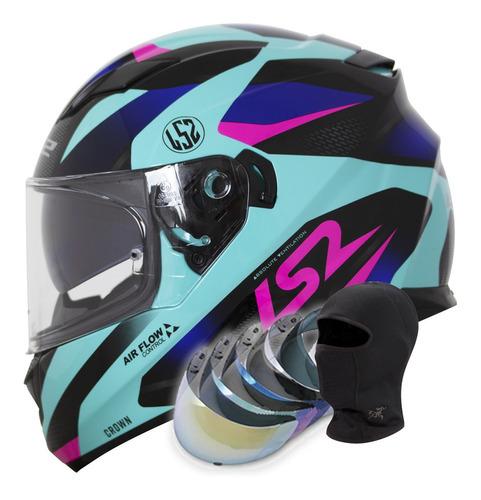Capacete Feminino Ls2 Ff320 Stream Crown Azul/pink viseira
