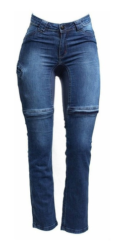 Calça Jeans Com Proteção Moto Hlx Feminina Malibu Confort