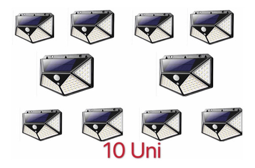 Kit10 Luminária Solar 100 Led Com Sensor Jardim Prova D'água