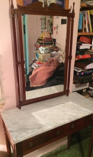 Comoda Vintage Con Espejo Y Cajones Marmol Y Cedro