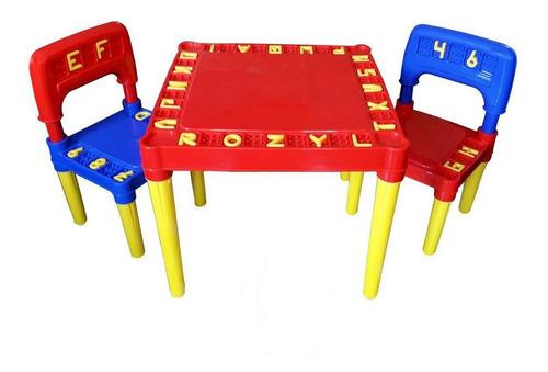 Mesinha Didática Mini Mesa Infantil Crianças Cadeiras Brinde
