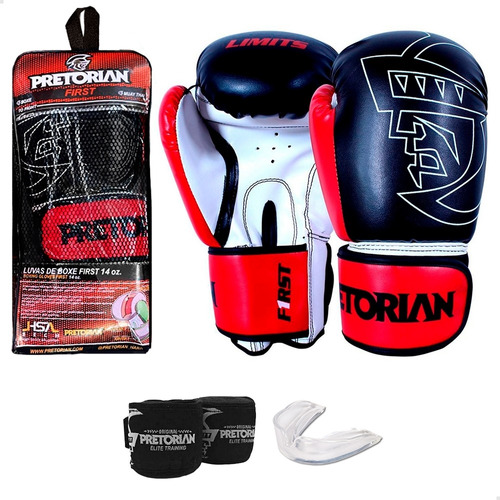 Kit Muay Thai Boxe Pretorian - Luva First + Bandagem + Bucal