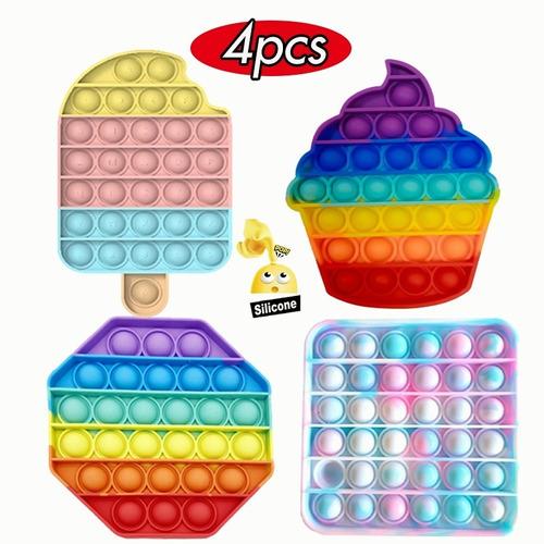 4pcs/kit Pop It Fidget Toy Rainbow Pionee Fidget