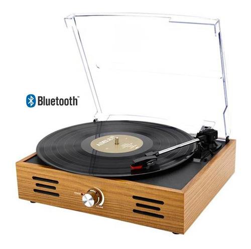 Vitrola Toca Discos Vinil Retro Tampa Acrílico Bluetooth Aux