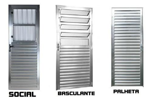 Porta Aluminio Brilhante  210x80  Queima De Estoque