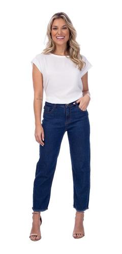 Calça Jeans Feminina Azul Claro Algodão Straight Mizu