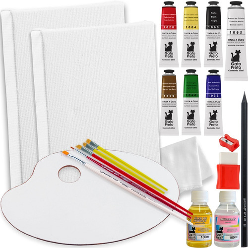 Mini Kit P/ Pintura A Óleo C/ Quadro Tela + Tintas + Paleta