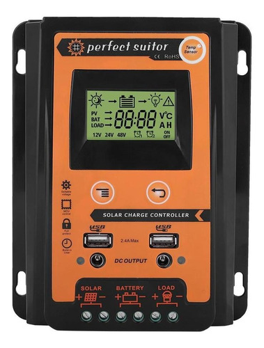 30a Controlador De Carga Solar 12v/24v 30a Mppt Dual Usb Lb,