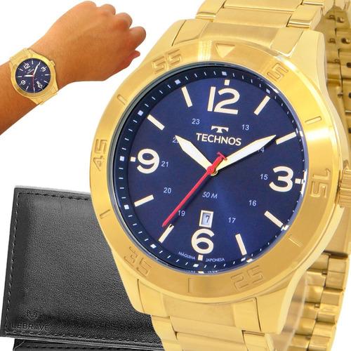 Relógio Masculino Dourado Technos 1 Ano De Garantia Original