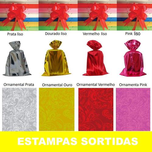 Kit 200 Embalagens Saco Presente Sortidos Com 200 Laços