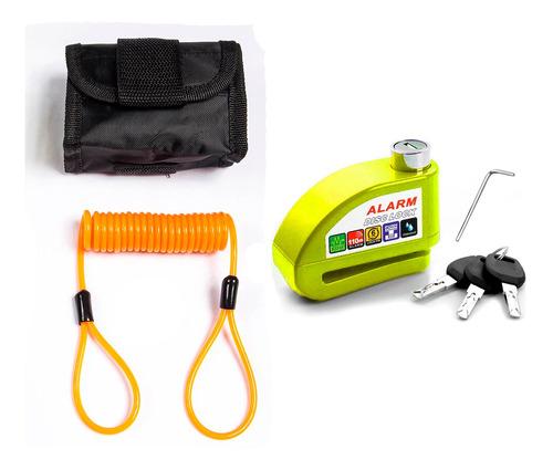 Trava Disco Moto Alarme Sensor Brinde Bolsa Cabo Stark