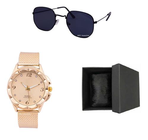 Óculos De Sol Feminino Top + Relógio A Prova D'água + Brinde
