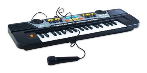 Teclado Musical Infantil 37 Teclas Com Microfone E Fonte
