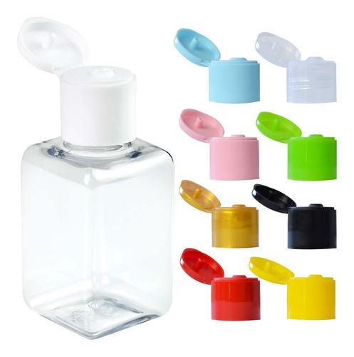 100 Frascos Plástico Pet 40ml Quadrado Com Tampa Flip Top