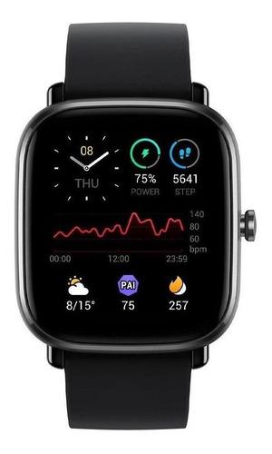 Smartwatch Amazfit Fashion Gts 2 Mini 1.55  Caixa De  Liga De Alumínio Pulseira  Midnight Black De  Silicone A2018