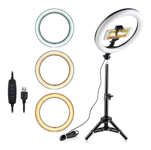 Iluminador Ring Ligth Anel Luz 26cm Youtuber Com Tripé 1.60