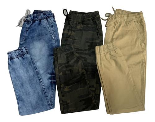 Kit3 Calças Jeans Camuflada Masculina Jogger  Punho Elastico