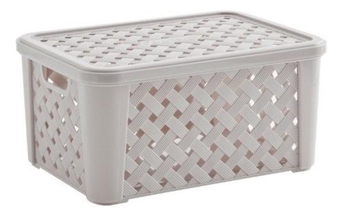 Caja Organizadora Plastico Simil Ratán 24x17x12 - Garageimpo