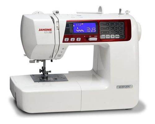 Máquina De Coser Janome Alta Gama 4120qdc Portable Blanca Y Roja 110v/220v