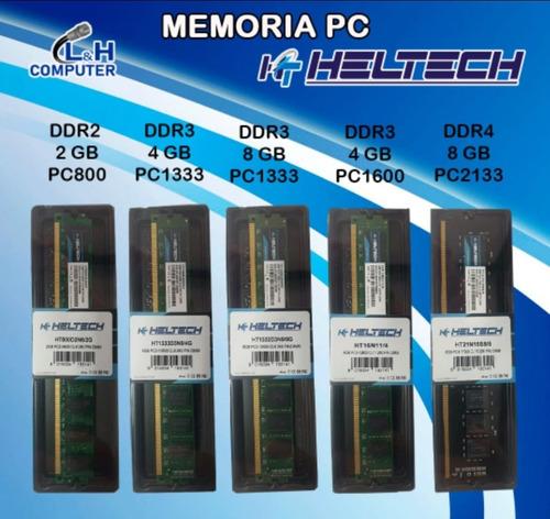Memoria Heltech Pcs Laptop Ddr3 Ddr4 4gb - 8gb Pc 1333 1600