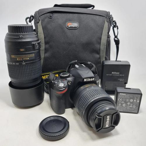 Câmera Nikon D3200 Com 2 Lentes 18 55mm E 55 300mm Bolsa