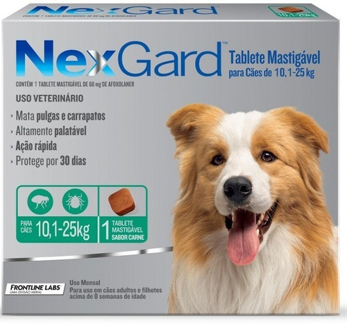 Nexgard Caes 10,1 A 25kg 1 Comprimido Pulga Carrapato