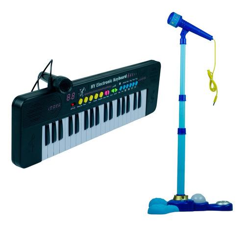 Teclado Eletrônico Musical Infantil Iniciante + Microfone