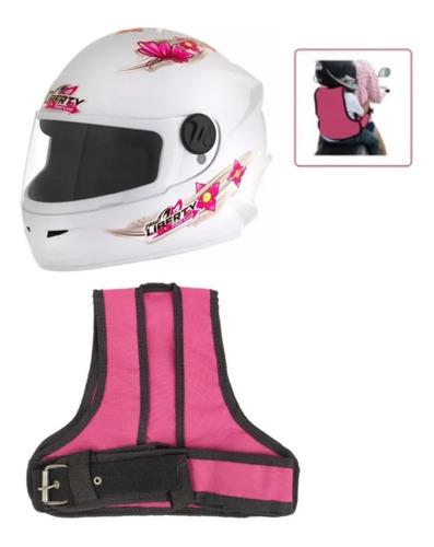 Kit Colete Cinto Segurança Infantil Rosa P/ Moto Capacete