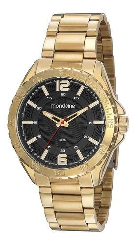 Relógio Mondaine Masculino Dourado Com Fundo Preto