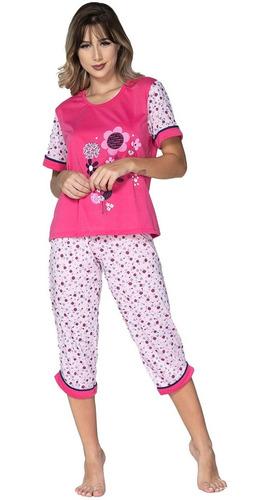 Pijama Pescador Adulto Feminino Blusinha E Calça Curta Noite