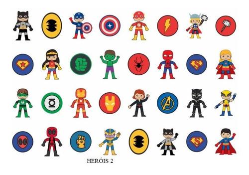 160 Tatuagem Temporária Infantil - Tema Heróis Variados
