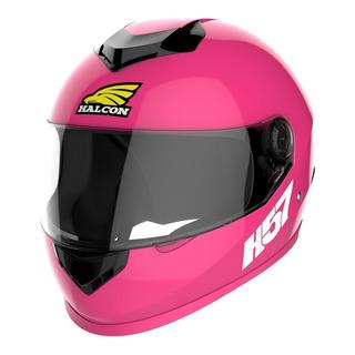 Casco para moto integral Halcon H57 rosa talle M