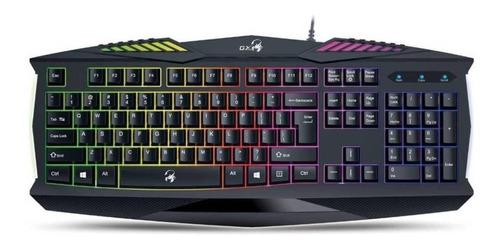 Teclado Gamer Genius Gx Gaming Scorpion K220 Qwerty Español Negro Con Luz Rainbow