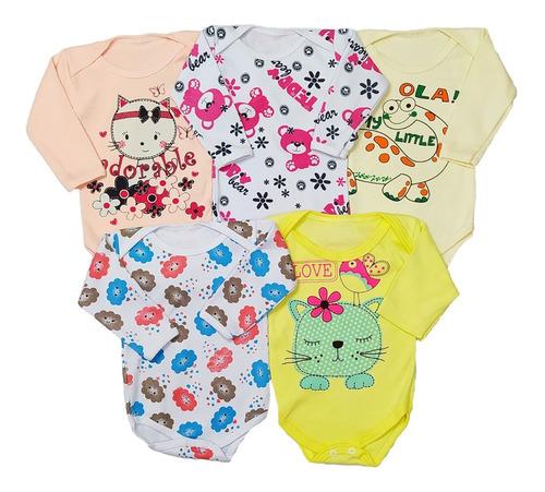 Kit Roupa Bebê 5 Bodys Estampado Manga Longa Ou Curta